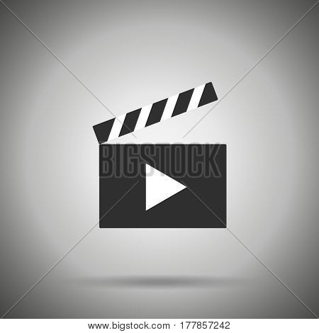 clap film  board icon isolated   with shadow