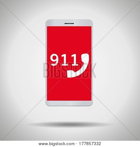 911 call mobile phone symbol isolated on grey