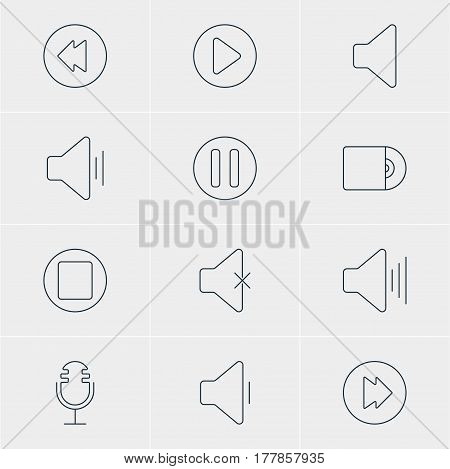 Vector Illustration Of 12 Melody Icons. Editable Pack Of Advanced, Reversing, Mike And Other Elements.