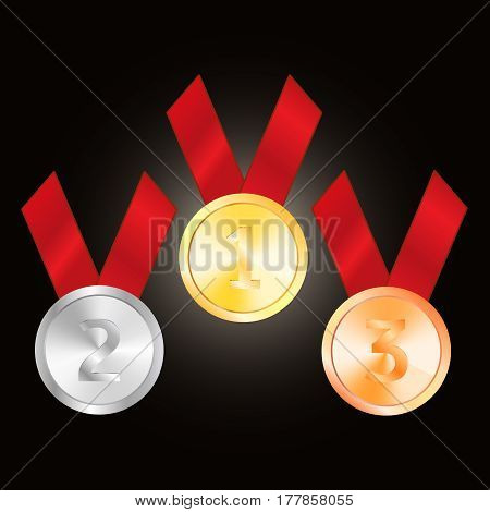 Bronze medal  silver medal  and golden medal vector