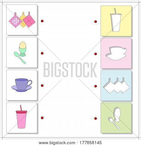 Potholes, Boiled Egg, Tea Cup, Cocktail. Educational Game For Kids