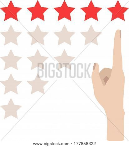 Hand With Pointing Finger To Rating Stars. Flat Design