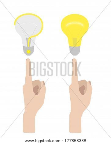 Hand With Pointing Finger To The Light Bulb. Flat Design