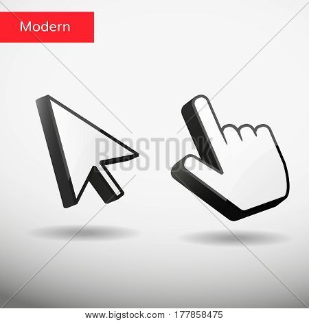 Vector mouse arrow and hand pointers with shadow
