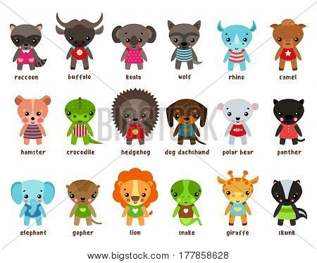 Cartoon baby animals. Racoon and buffalo, koala and wolf, rhino and camel, hamster and crocodile, forest hedgehog, dog dachshund and polar bear, panther and elephant, lion and snake, gopher