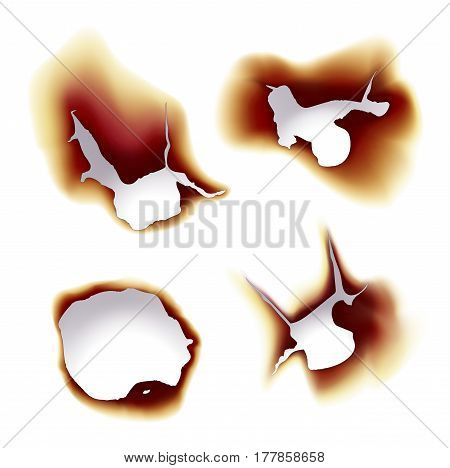 Set of isolated sheets of paper on fire, scorched or burnt piece of paper with holes, bright lightning of page with spark and ash. Destroyed parchment damage and glow, ignition, burning theme