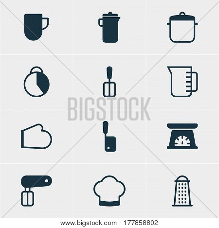 Vector Illustration Of 12 Kitchenware Icons. Editable Pack Of Whisk, Timekeeper, Cooking Spade And Other Elements.