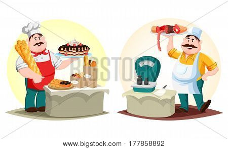 Baker and meat shop worker. Man with cake and baguette or baton, loaf of bread and doughnut or donut, butcher with cleaver near scale or weigh, holding meat sausage and ham. Food and profession