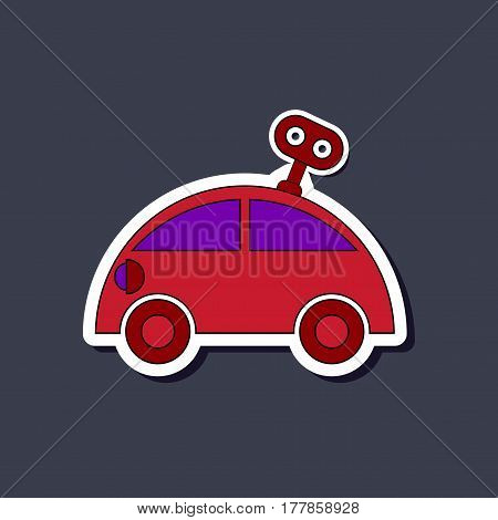 paper sticker on stylish background of Kids toy car with key