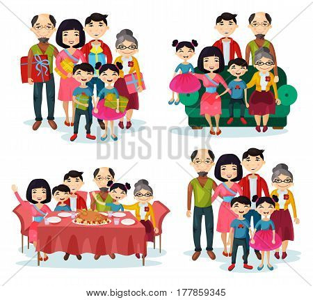Asian family with father and mother, children and grandparents, brother and sister with gifts at portrait on sofa, at celebration dinner table with turkey. Parenting and childhood picture theme