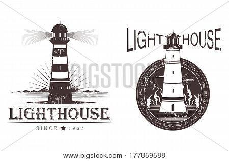 Sketch of lighthouse for ship night navigation, sea or ocean lamp near mountains sign, seashore light beam guidance. Marine and nautical , water hazard and danger logo, seaside architecture theme