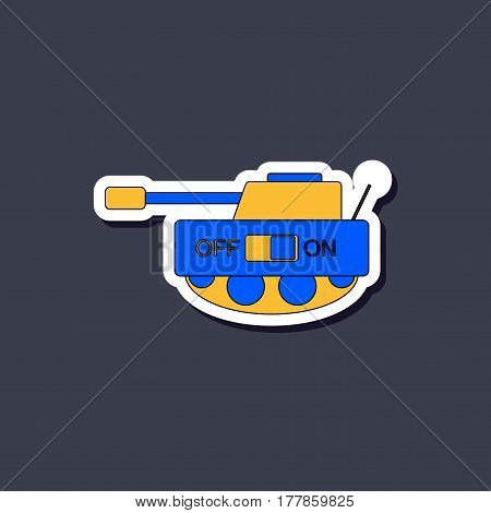 paper sticker on stylish background of Kids toy tank