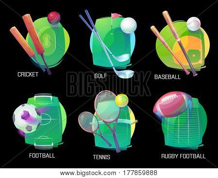 Set of isolated signs for tennis with rackets and cricket with bats, soccer with ball and goals on field, baseball pitch and golf clubs, american football, rugby oval ball. Sport club banner, activity