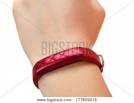 Female hand with fitness tracker isolated on white