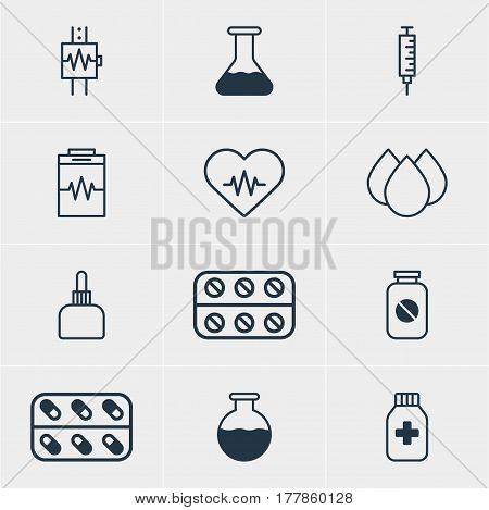 Vector Illustration Of 12 Medical Icons. Editable Pack Of Trickle, Vial, Vaccinator And Other Elements.