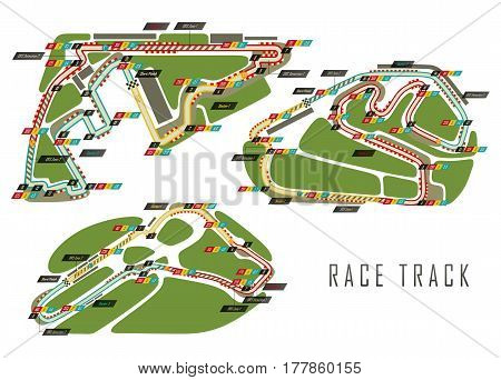 Set of race tracks for qualification and formula 1 world championship at Abu Dhabi at United Arab Emirates, UAE Yas Marina, Sao Paulo at Brazil Interlagos track, Monza Italian grand prix.Auto and moto