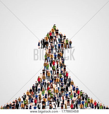 Large group of people in the shape of a grossing arrow. Way to success. Business concept. Vector illustration