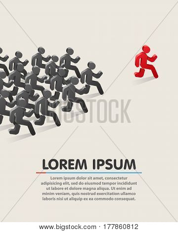 Running leader. Business success concept Vector illustration