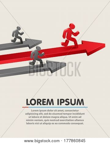 Running leader on grossing arrow. Business success concept. Vector illustration