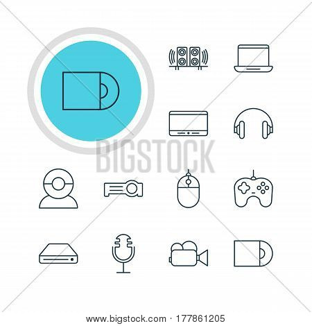 Vector Illustration Of 12 Accessory Icons. Editable Pack Of Dvd Drive, Memory Storage, Camcorder And Other Elements.