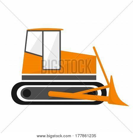 Bulldozer is a construction vehicle. Orange building dozer.