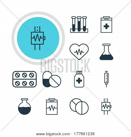 Vector Illustration Of 12 Medicine Icons. Editable Pack Of Antibiotic, Medicine Jar, Vial And Other Elements.
