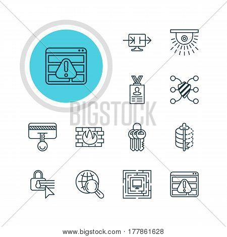 Vector Illustration Of 12 Protection Icons. Editable Pack Of Encoder, Camera, Key Collection And Other Elements.