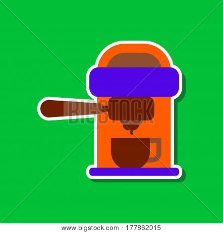 paper sticker on stylish background of coffee electronic machine