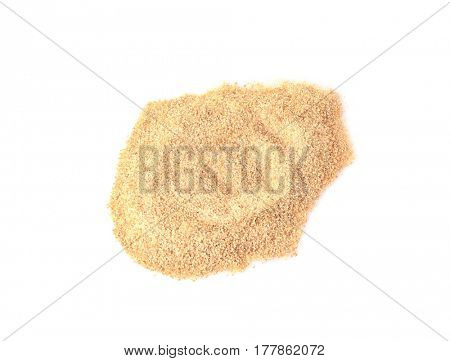 Pile of bread crumbs isolated on white