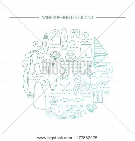 Windsurfing line icons. Vector Summer Surf concept.
