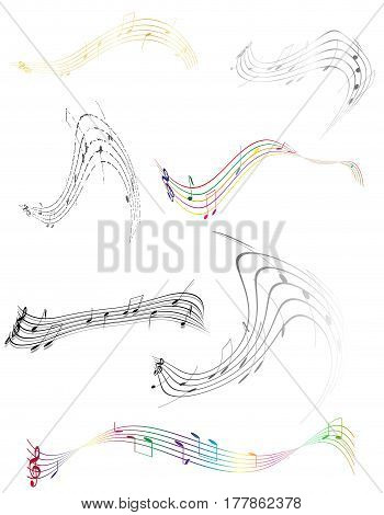 abstract musical notes stock vector illustration isolated on white background