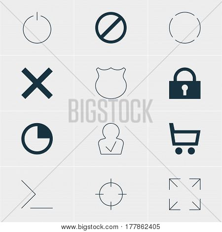Vector Illustration Of 12 Member Icons. Editable Pack Of Stopwatch, Access Denied, Guard And Other Elements.