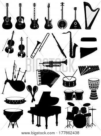 musical instruments set icons black silhouette outline stock vector illustration isolated on white background
