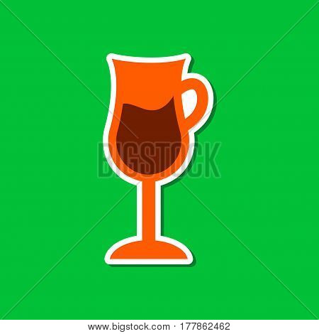 paper sticker on stylish background of coffee glass cup
