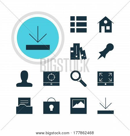 Vector Illustration Of 12 Web Icons. Editable Pack Of Maximize, Document Directory, Landscape Photo Elements.