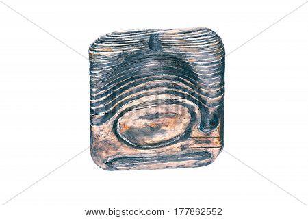 Handmade ashtray of dark wood  isolated over white background