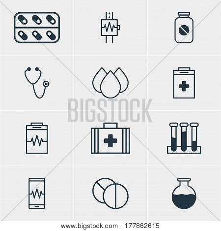 Vector Illustration Of 12 Health Icons. Editable Pack Of Experiment Flask, Heartbeat, Treatment And Other Elements.