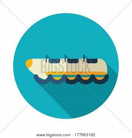 Yellow banana boat vector icon. Beach. Summer. Summertime. Holiday. Vacation ride water sport eps 10