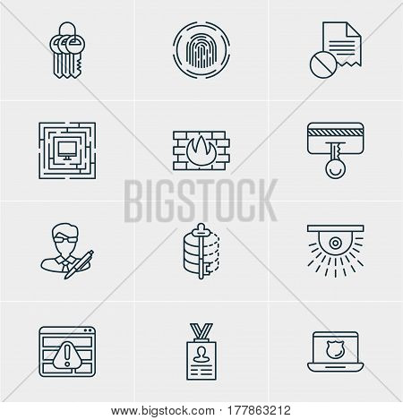 Vector Illustration Of 12 Data Protection Icons. Editable Pack Of Data Security, Finger Identifier, Browser Warning And Other Elements.