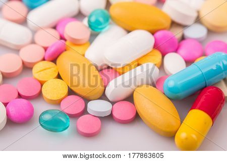 different Tablets pills capsule heap mix therapy drugs