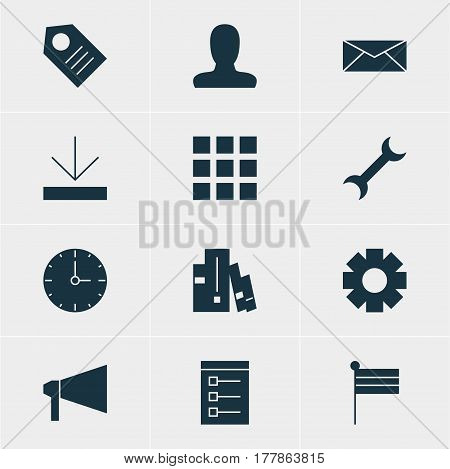Vector Illustration Of 12 Online Icons. Editable Pack Of Bullhorn, Upload, Gear And Other Elements.