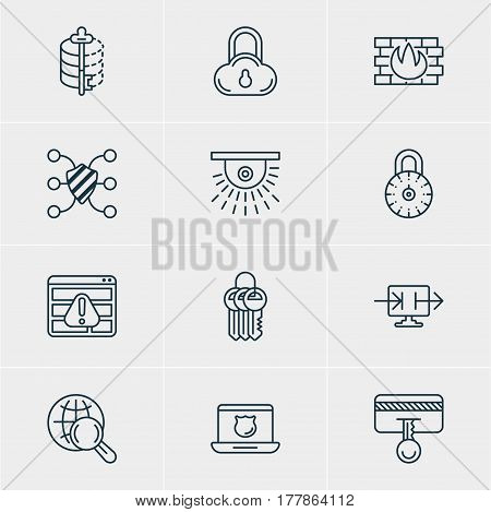 Vector Illustration Of 12 Protection Icons. Editable Pack Of Encoder, Data Security, Network Protection And Other Elements.