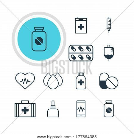 Vector Illustration Of 12 Health Icons. Editable Pack Of Exigency, Medicine, Trickle And Other Elements.