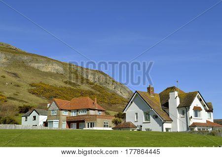 Llandudno Wales United Kingdom - April 4 201 : Llandudno houses at the bottom of Great Orme in North Wales
