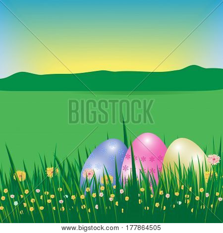 Happy Easter background or poster. Template Card with eggs grass flowers field sky and sun. Vector illustration.