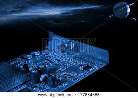circuitboard in outer space, planets and stars, slight blue toning concept