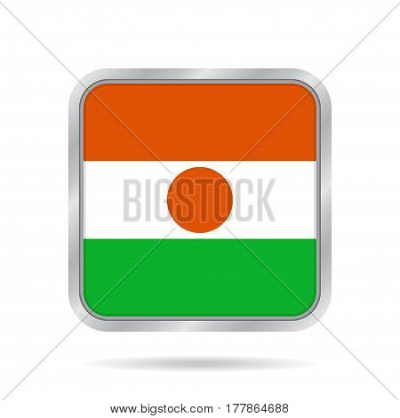 National flag of Niger. Shiny metallic gray square button with shadow.
