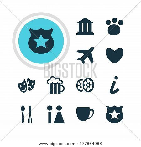Vector Illustration Of 12 Travel Icons. Editable Pack Of Cafe, Toilet, Aircraft And Other Elements.