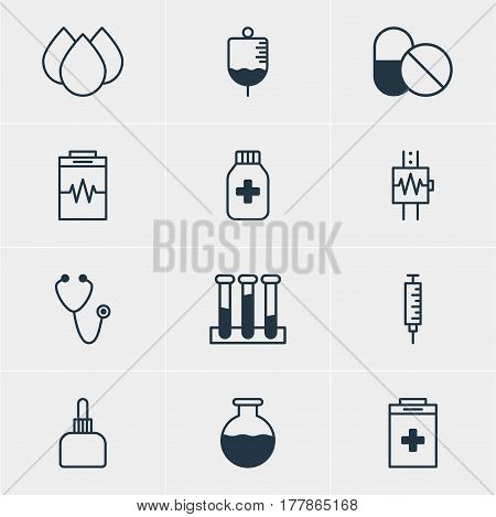 Vector Illustration Of 12 Medical Icons. Editable Pack Of Experiment Flask, Vial, Trickle And Other Elements.