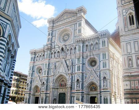 Santa Maria del Fiore (Saint Mary of the Flower) Duomo Cathedral in Florence, Italy. Renaissance gothic style famous old dome, most popular tourist place in Florence downtown city.